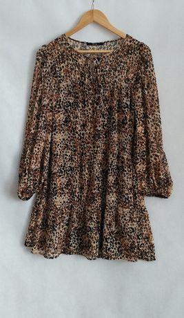 Sukienka George r. 40 cętki wzór brąz beż panterka NOWA