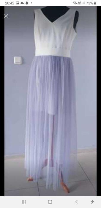 Sukienka długa biało szara z tiulem Olsztyn - image 1