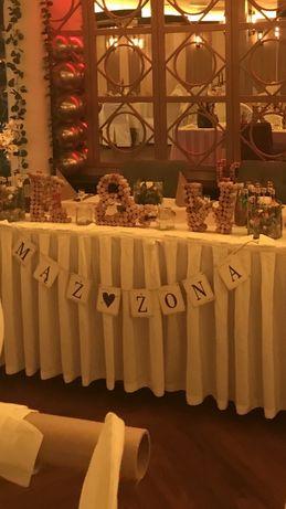 Baner Dekoracja sali weselnej mąż żona