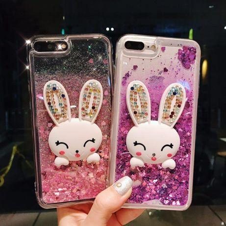 Чехол Glitter для Iphone 5 5s SE 7 8 6 6s бампер жидкий блеск Заяц