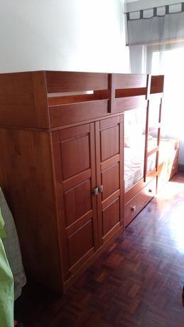 Cama beliche com armário + Guarda-fato