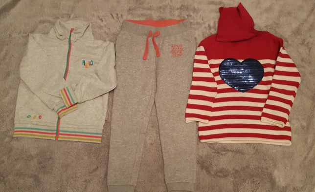 Bluza, golfik - sweterek, spodnie dresowe dla dziewczynki rozm. 116
