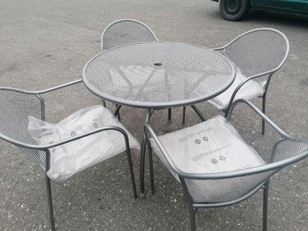 Meble Ogrodowe 4 krzesła Stolik Zestaw Poduszki Srebne