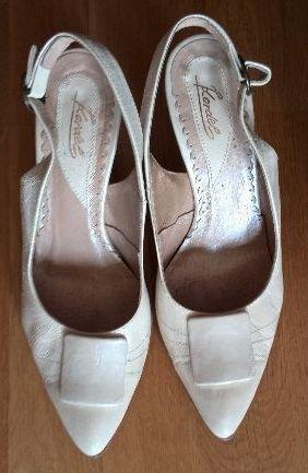 Buty ślubne kremowe ecru 38 skóra naturalna