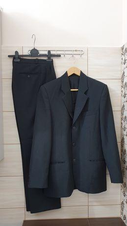 Czarny ciemnoszary garnitur marynarka spodnie kamizelka 182 M L