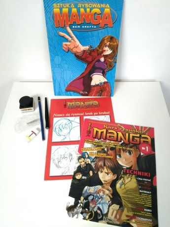 Kurs rysowania manga książki atrament zestaw gumka ołówek