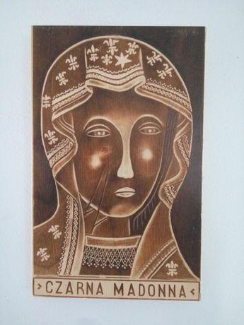 Obrazek święty drewniany Matka Boska Częstochowska. Upominek prezent