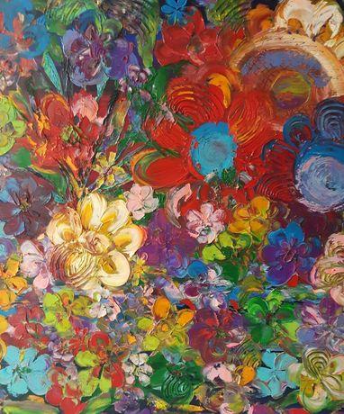 KWITNĄCO obraz olejny faktura farby 80x80 KatarzynaArt