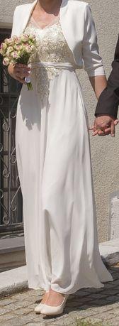 Suknia ślubna - długa prosta + bolerko - rozm. 36 + S/M