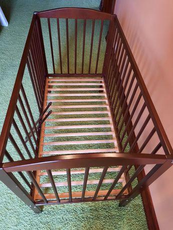 Łóżeczko drewniane dziecięce 120 x 60 cm, 2 stopnie wys, kolor brązowy