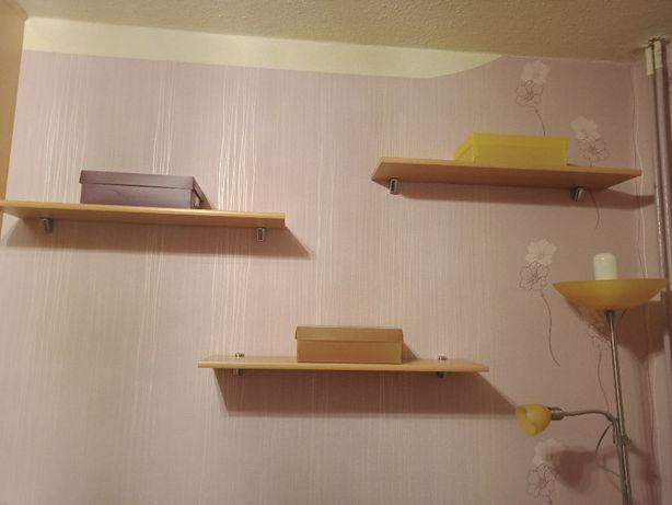 Półki wiszące drewniane 3 sztuki z uchwytami srebnymi