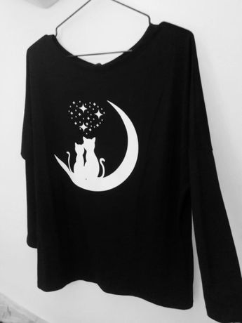 Bluzka koty na księżycu