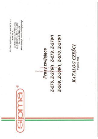 Instrukcja, Katalog części Sipma Prasy Zwijającej