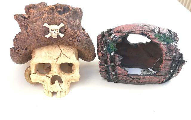 Zestaw ozdób do akwarium - czaszka pirata i beczka, dekoracja akwarium