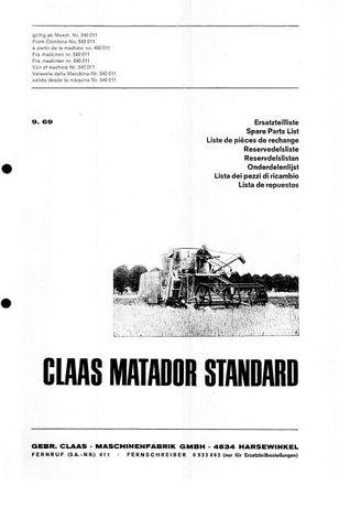 Claas Matador Standard, Columbus, Mercator, Mercator 60 katalogi cz PL