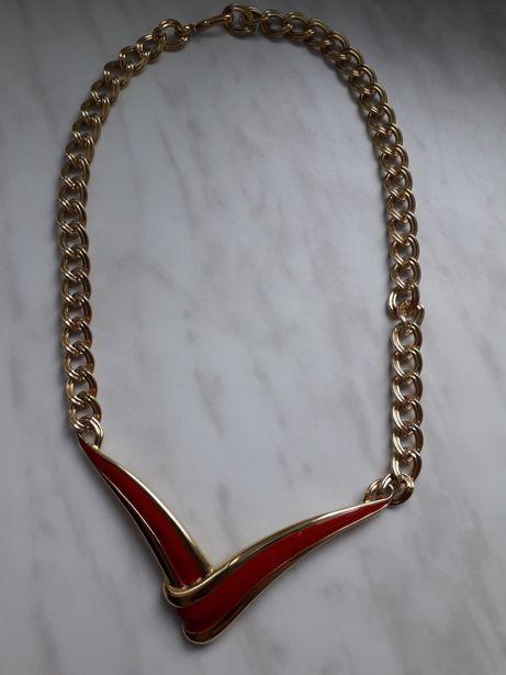 Naszyjnik złoty z czerwonym