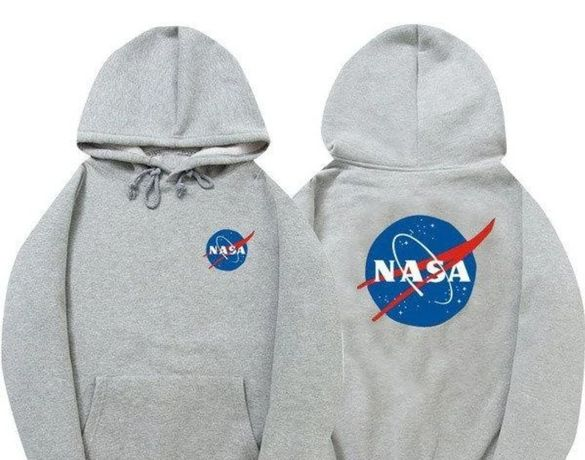 Толстовка Худи NASA серое с логотипом, унисекс