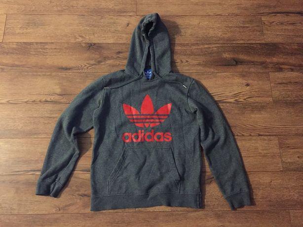 Adidas Originals bluza Big logo Kangurka szaro czerwona S