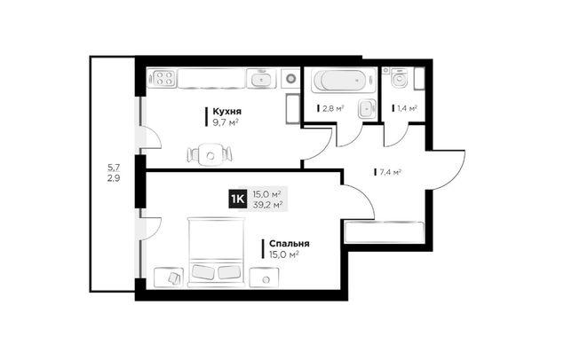 Продаж 1 кім. квартири в ЖК OBRIY3, Малоголосківська, площа 39 кв.м