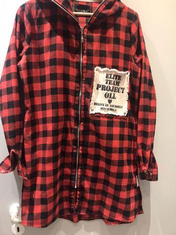 Koszula kurtka krata By o La la z kapturem z zamkiem super miekka  S M