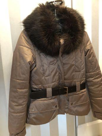 Kurtka zimowa z futerkiem złota r.36 Zara Woman Limited