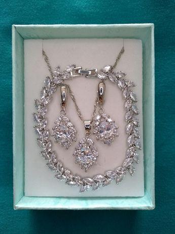Biżuteria komplet kolczyki wisiorek bransoletka ślub dzień kobiet