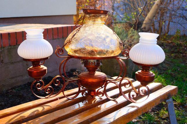 żyrandol miedziany, ręcznie robiony, oryginalny
