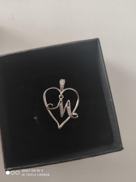 Serce srebrne 925 z literką M