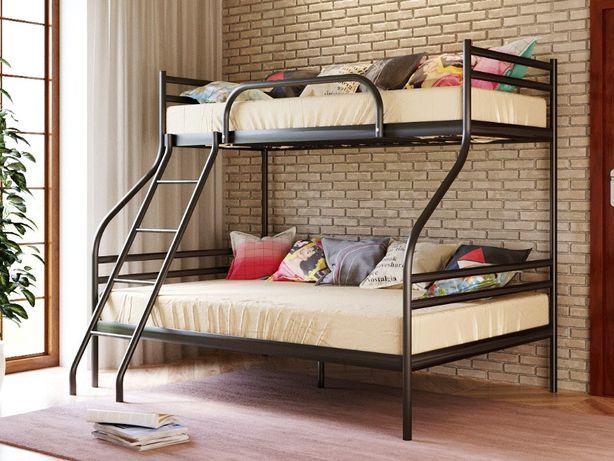 Трехместная металлическая двухъярусная кровать Смарт Smart металл