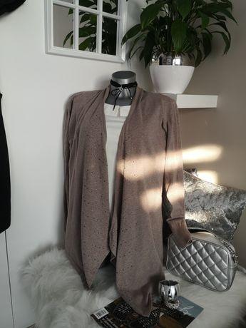 sweterek narzutka kardigan cyrkonie Beżowy mokka 40 42