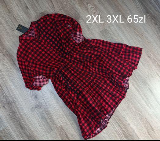 Sukienka koszulowa w kratę 2XL 3XL czarno czerwona