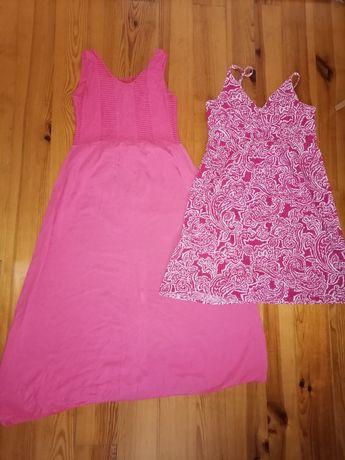 Letnia koralowa różowa sukienka maxi midi L może być ciążowa