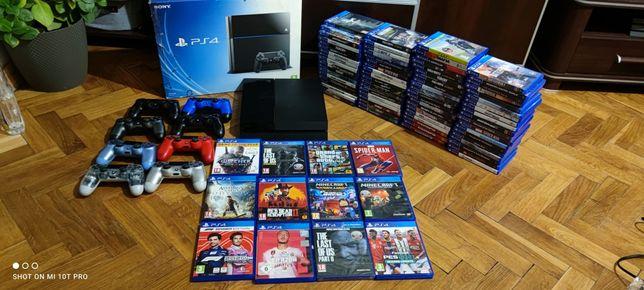PS4 Komplet Pudełko Zadbana Dużo Gier Pady GTA V Minecraft PlayStation