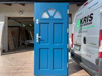 Drzwi zewnętrzne drewniane ocieplane niebieskie  OD RĘKI CAŁA POLSKA