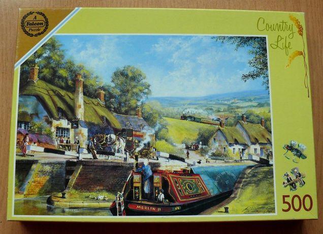 Puzzle 500 elementów, kompletne, Falcon, pub nad kanałem, życie na wsi