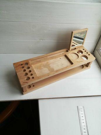 Деревянная подставка органайзер для косметики