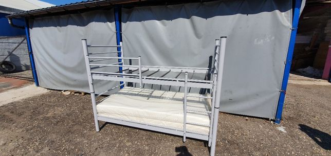 Łóżko piętrowe pracownicze metalowe wojskowe rozkładane 90x190cm