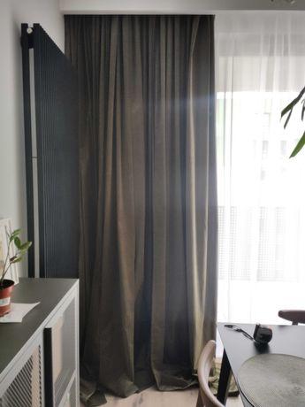 IKEA Sanela, Zasłony zacieniające welurowe, kolor oliwkowy