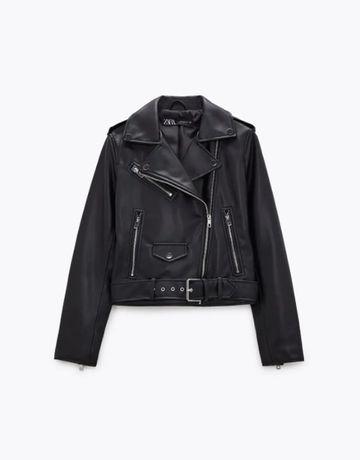 Новая с биркой косуха zara,черная байкерская куртка под кожу zara