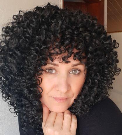 Wig ( Peruca) Preta Cacheada
