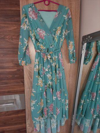 Sukienka turkusowa S/M maxi