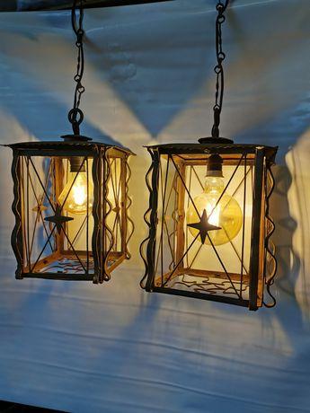 Stare lampy metalowe zdobione