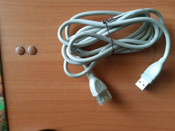 Кабель USB, шнур, удлинитель, подовжувач 2м. мама/папа сірий