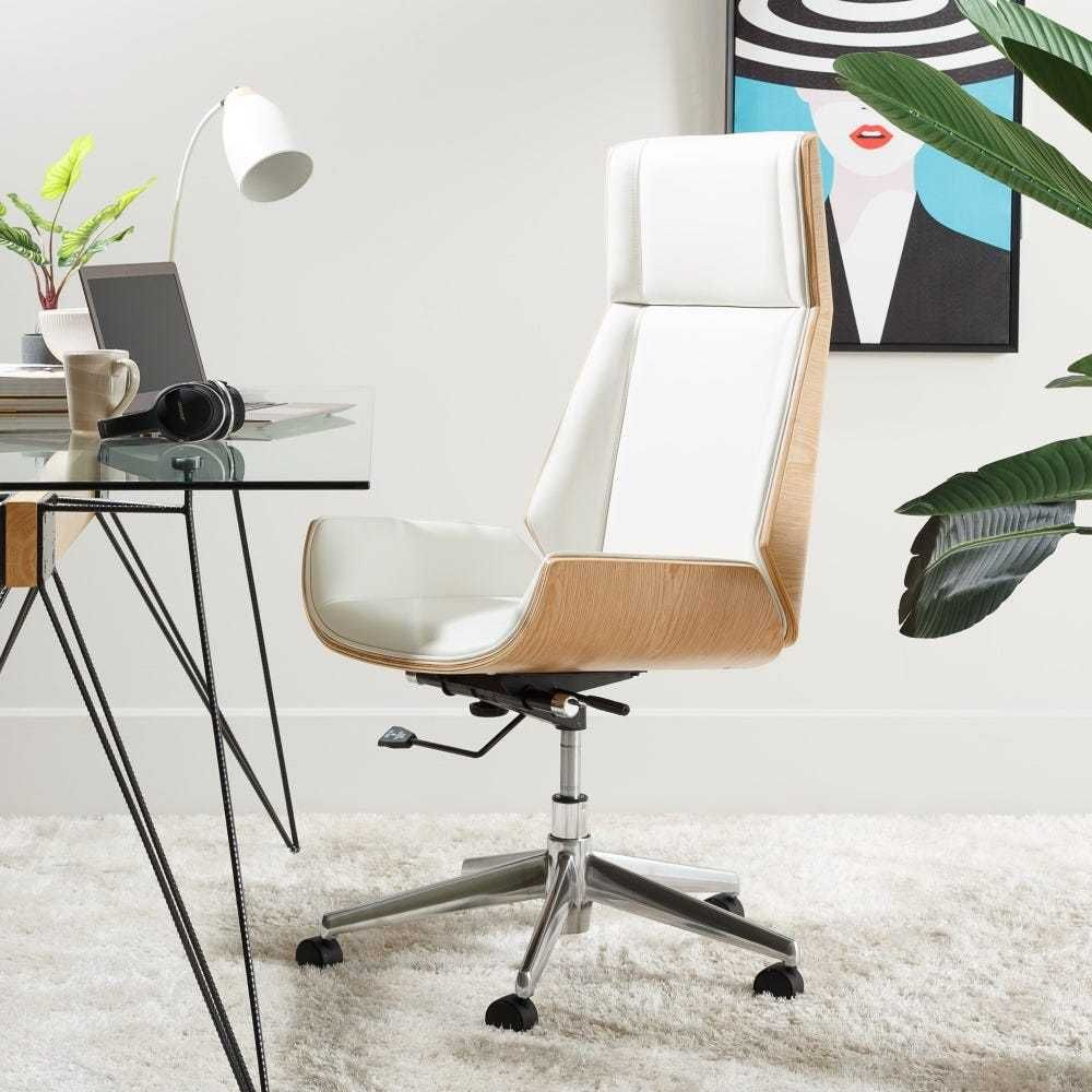 Cadeira de Escritório Branca e Madeira de Desgin By Arcoazul