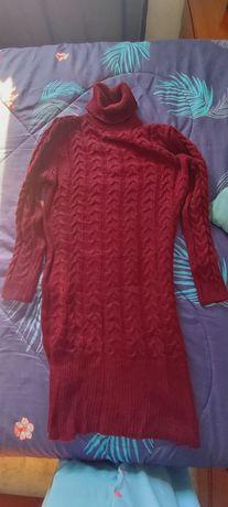 Vestido de lã bordeaux (portes grátis)
