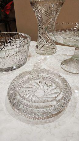 Popielniczka kryształowa masywna duża popielnica przeźroczysta PRL