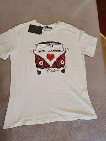 Biały nowy bawełniany T-shirt M
