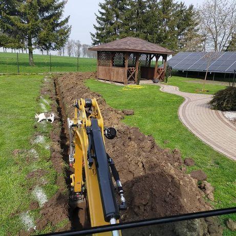 Usługi Minikoparką wykopy pod fundamenty przyłącza niwelacja terenu