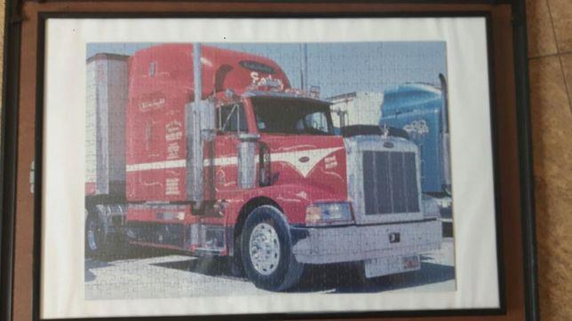 Puzzle kultowa czerwona ciężarówka