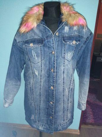 Kurtka jeansowa z futerkiem ocieplana S M